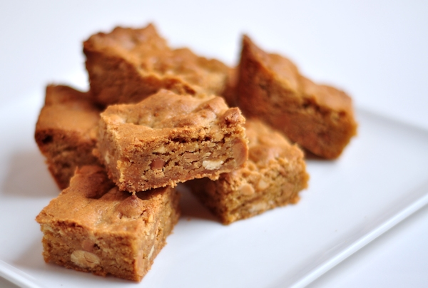 plate of peanut butter triple threat blondies