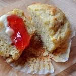 orange cardamom muffins with jam