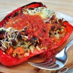 Turkey and Pesto Stuffed Sweet Peppers
