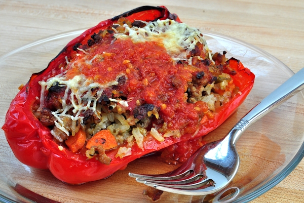 plated turkey and pesto stuffed peppers