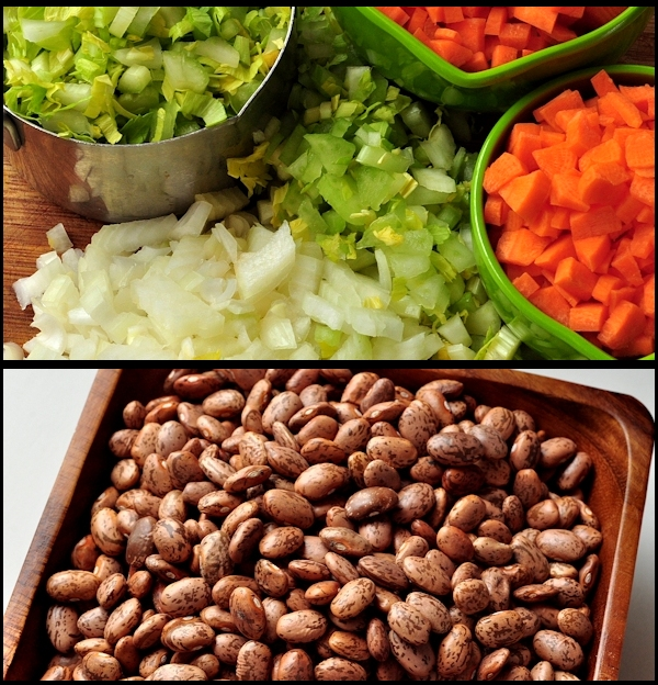 veggies and bean for bean with bacon soup
