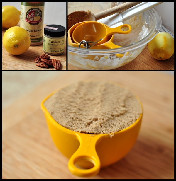 ingredients for lemon spice brownies