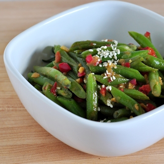 bowl of green beans with miso