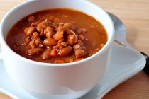 bowl of bean with bacon soup