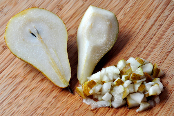 cut up bosc pear