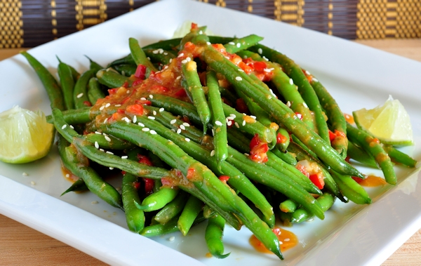plated green beans with miso