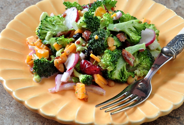 plate of broccoli bacon salad