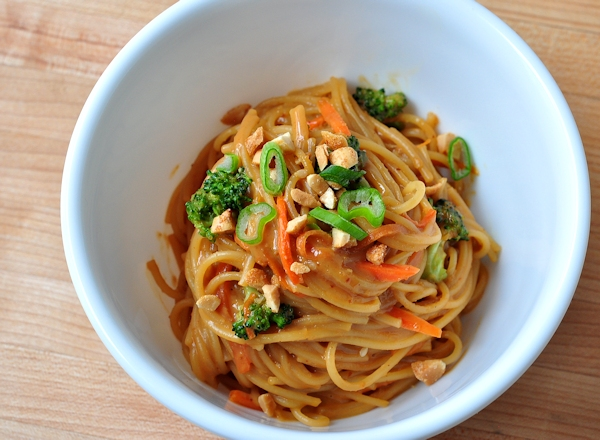 bowl of spicy peanut noodles