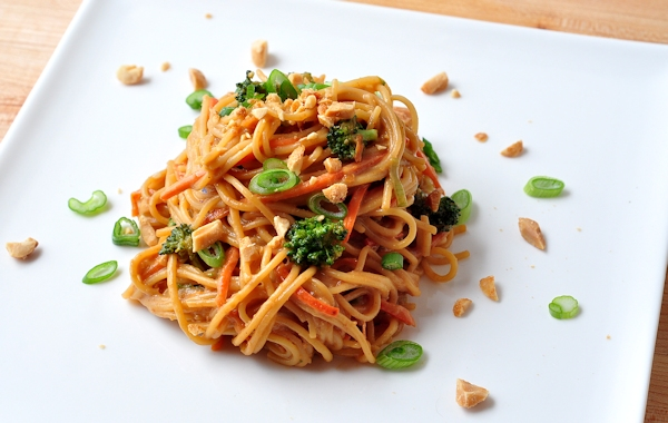 plate of spicy peanut noodles