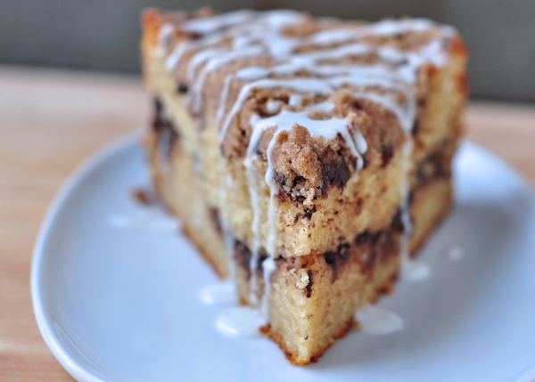slice of cinnamon chocolate chunk coffee cake