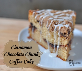 cinnamon chocolate chunk coffee cake @TheCreeksideCook