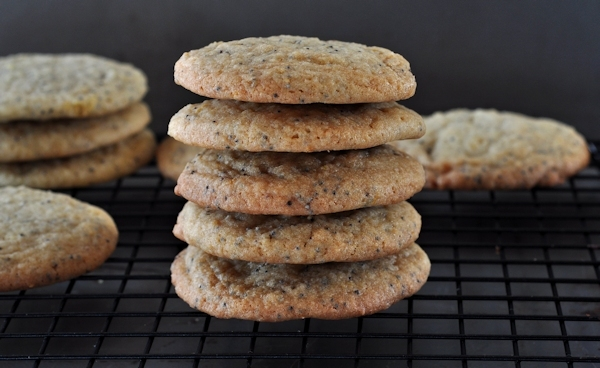 Stack of Chewy Lemon Poppy Seed Cookies