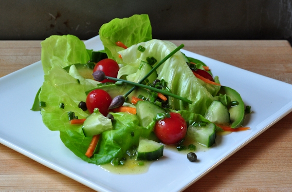 butter lettuce with chive lemon vinaigrette