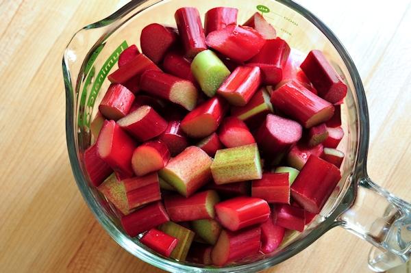 cut up rhubarb
