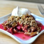 plate of maple walnut rhubarb crisp