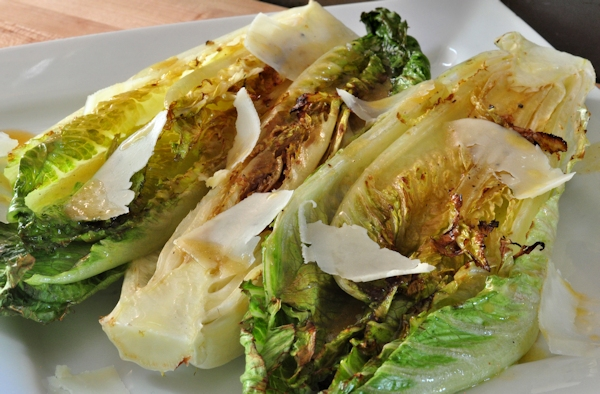 plate of grilled romaine salad