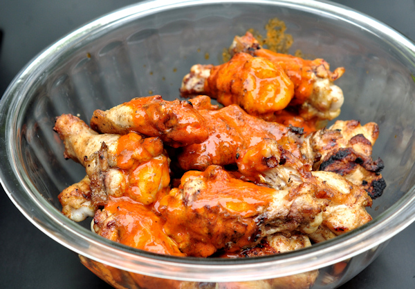 grilled buffalo hot wings in bowl