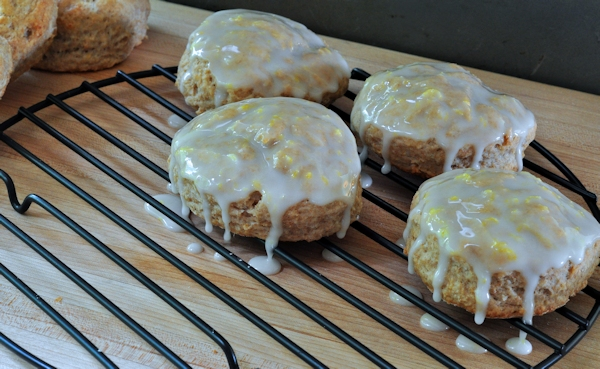 whole wheat lemon ginger scones with glaze