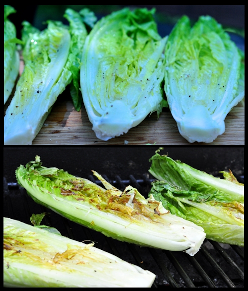 raw and grilled romaine