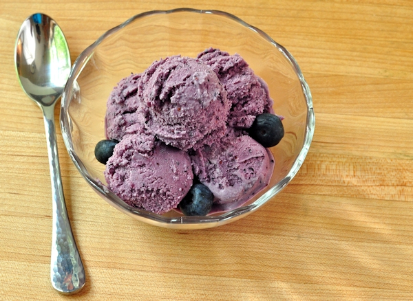 bowl of double blueberry ice cream