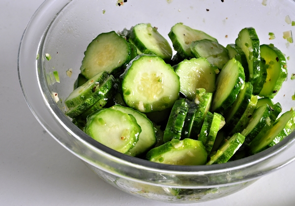 bowl of jalapeno lime cucumber salad