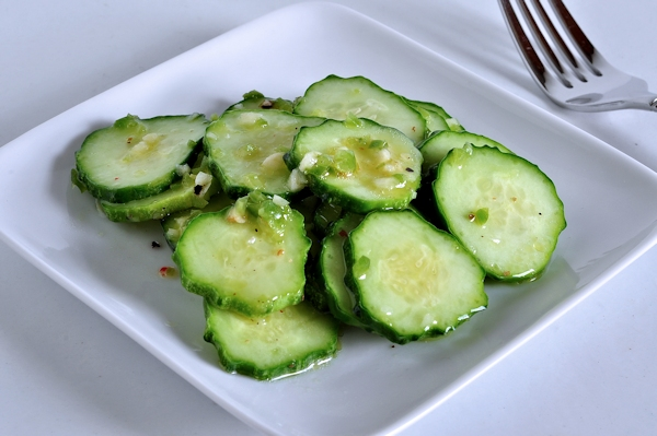 plate of jalapeno lime cucumber salad