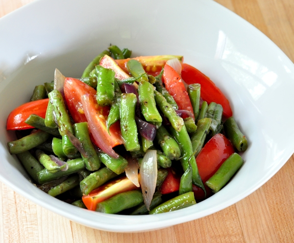 Bowl of Warm Green Bean Tomato Salad on The Creekside Cook