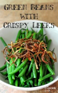 green beans with crispy leeks