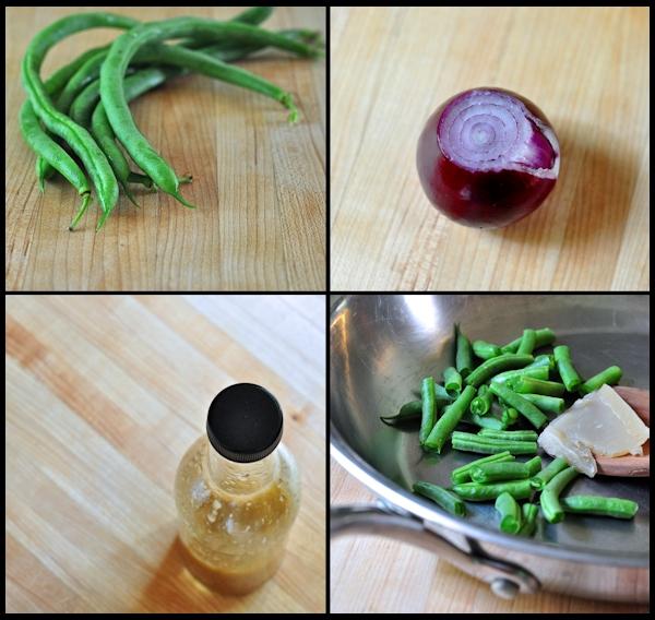preparation for warm green bean salad