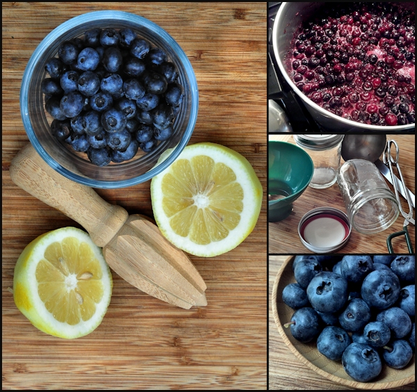 preparing blueberry preserves