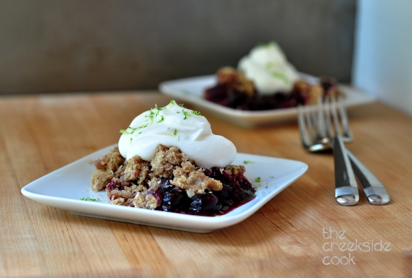 servings of blueberry lime crisp