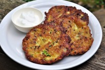 crispy zucchini fritters with sour cream for dipping