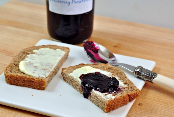 blueberry preserves on fresh bread