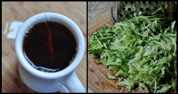 chai tea and grate zucchini