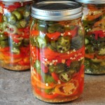 jars of refrigerator pickled hot peppers