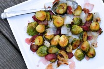plate of roasted brussels sprouts with peppered bacon