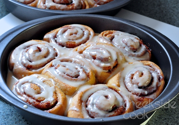 pan of anadama cinnamon rolls