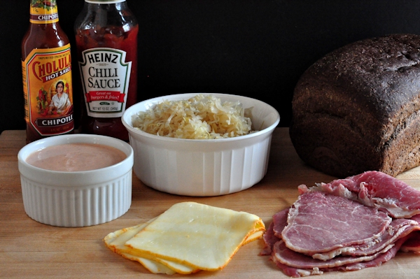 Ingredients for reuben sandwiches
