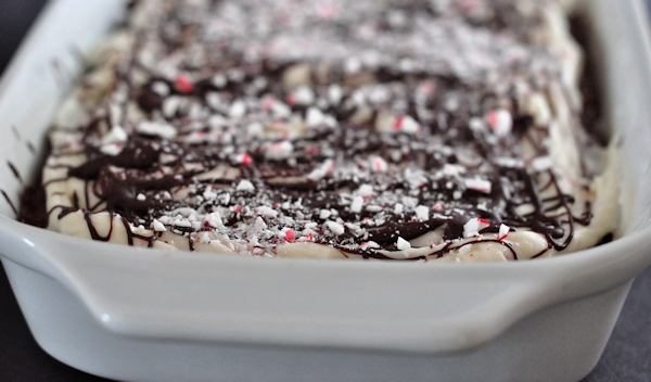 pan of leftover candy cane brownies