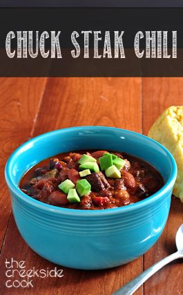 Chuck Steak Chili on The Creekside Cook