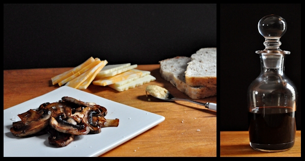 ingredients for grilled balsamic mushroom and cheese sandwiches