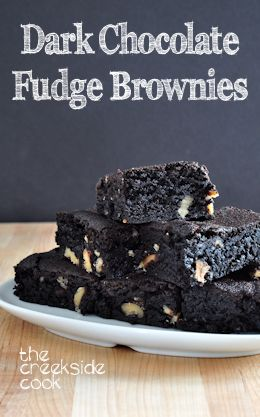 Dark Chocolate Fudge Brownies on The Creekside Cook