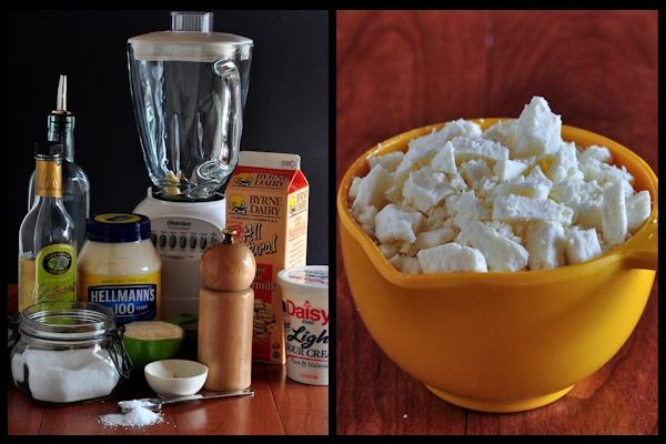 Ingredients for Creamy Feta Cheese Salad Dressing