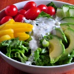 Bowl of Salad with Creamy Feta Cheese Salad Dressing on The Creekside Cook