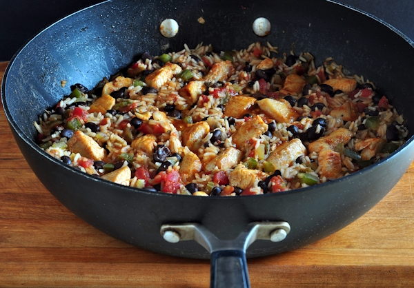Pan of Chipotle Chicken Black Beans & Rice on The  Creekside Cook