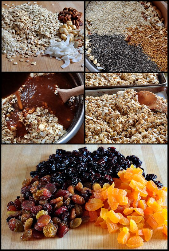 ingredients being added to the granola