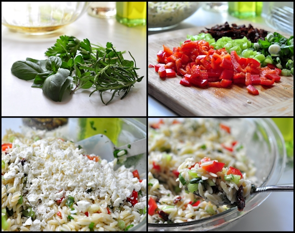Preparation of Mediterranean Orzo Salad on The Creekside Cook
