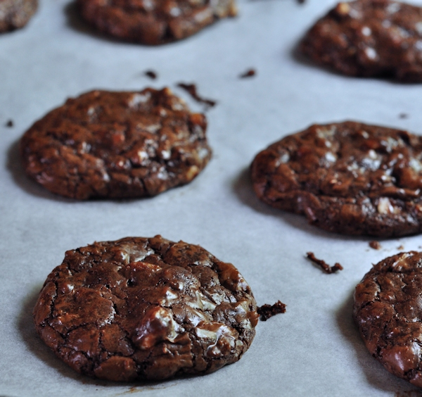 pan of Outrageous Chocolate Toffee Cookies on The Creekside Cook