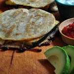 Cutting Zucchini & Black Bean Bean Quesadillas on The Creekside Cook