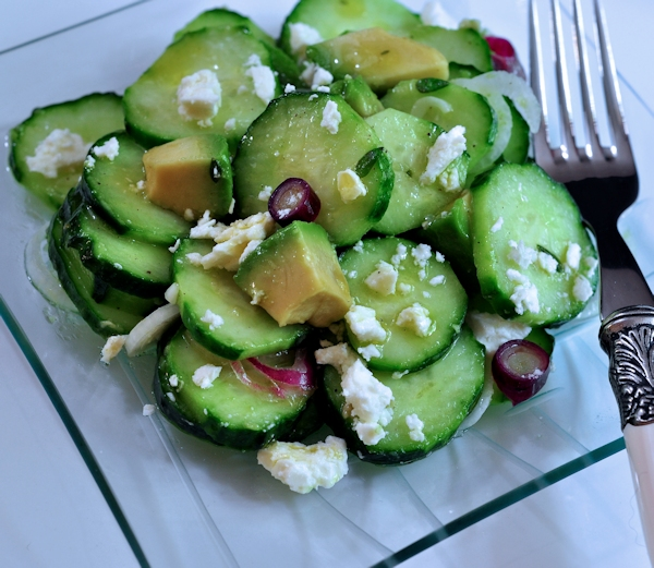 Delicious plate of Cucumber Avocado Salad with Feta on The Creekside Cook